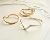 Stacking ring, knuckle ring, hammered spike ring, simple gold band, sterling silver knuckle ring