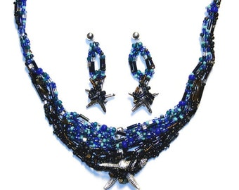 """STARFISH 16"""" Freeform beaded necklace earrings sterling silver jewelry set/ Ready to Ship/ Free Usa shipping"""