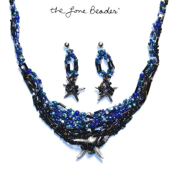 "STARFISH 16"" Freeform beaded necklace earrings sterling silver jewelry set/ Ready to Ship/ Free Usa shipping"
