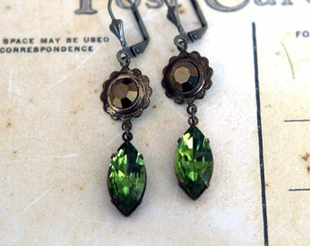Olivine Green and Metallic Brown Earrings  Vintage Crystal Dangles  Floral, Wedding  Spring, Summer Fashion  Gift Box