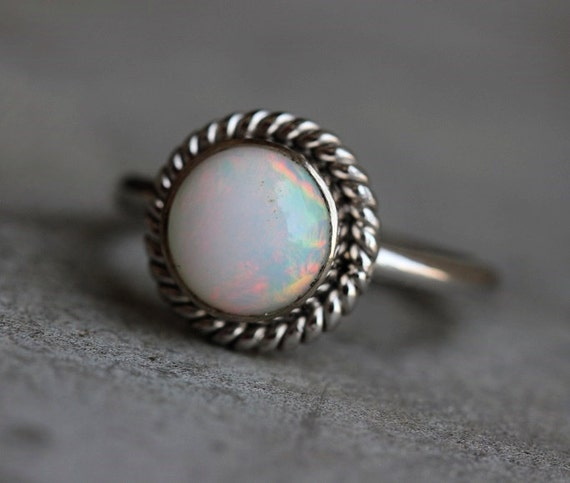 18K white Gold Opal ring Natural Opal Ring by Studio1980