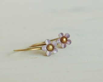 small lavender flower earrings vintage enamel tiny daisy earrings - petit fleur (lavender)
