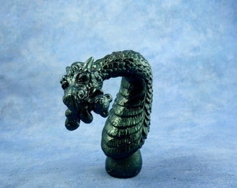 Bastian and Teddy - Metallic Green Finished Resin Dragon Sculpture