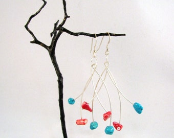 Turquoise and Coral Sterling Silver Mobile Earrings RKS446