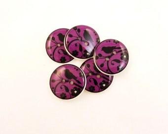 """5 Bird Buttons. Bird Silhouette buttons.  Pinkish Purple Bird Handmade Sewing Buttons. 3/4"""" or 20 mm round."""