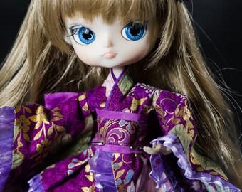 Lilac Floral Wa Loli Kimono for Dal Pullip Sister