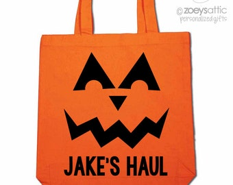 Halloween bag trick or treat pumpkin face ORANGE tote bag perfect to use as a Halloween bag to collect all the candy