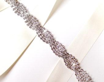 Sash - Twisted Rhinestone Bridal Belt Sash or Headband - Custom Ribbon White Ivory Silver - Crystal Wedding Dress Belt - Extra Long