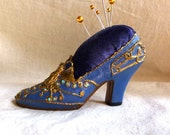 Antique Velvet Blue Gold Shoe Pin Cushion