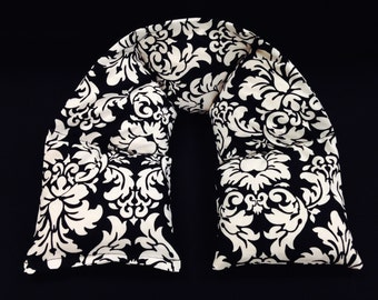 Heated Neck Wraps, Microwave Corn Bags, Heat Packs, Hot Cold Therapy, Heated Bags, Massage Therapy, Neck Warmer, Gift For Her - Black Damask