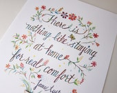 Comfort Jane Austen Quote Art Print Watercolor Typography