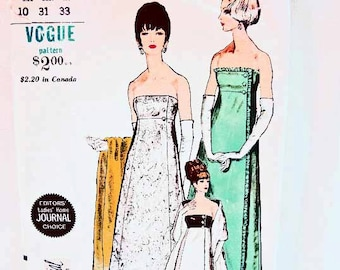1960s Evening Dress Pattern Vogue Special Design Misses size 10 Womens Evening Gown with Stole Vintage Sewing Pattern