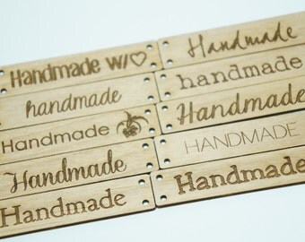 """Wooden tags """"handmade """" assorted fonts Set of  10"""