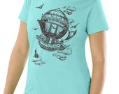 SALE Plus Size Vintage Steampunk T-shirt, Airship, Jade plus size top, Artsy T-shirt