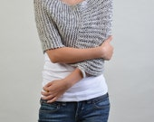 Hand knitted Little cotton poncho Grey/white blend knit scarf knit shrug