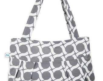 Sew Good and Trendy Organic Handmade Sophisticate Shoulder Purse Gray Circles - Free Shipping