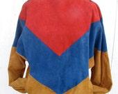 1970s Avant Garde Suede Color Block Shirt