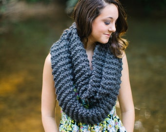 Extra Long Infinity Scarf in Dark Grey // Double Wrap Knit Circle Scarf Pewter // Knit Wrap Scarf