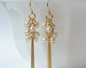White Pearl Cluster Earrings, Jewelry by Vanessa Perini