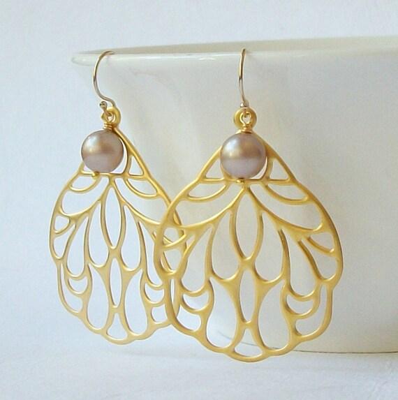 LAST ONE Beige Brown Pearl Dangle Earrings