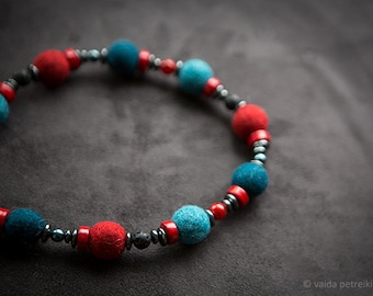 Colorful necklace Felt necklace Dark grey denim blue turquoise shades Summer fashion jewelry Black lava Red ceramics