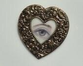 Eye art,  Lovers Eye jewelry, Eye painting, Heart brooch, Red Eye, Heart pendant