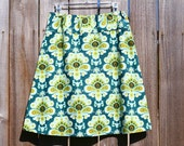 Simple teal A line skirt, Amy Butler, Belle, French Wallpaper, Choose Your Color, Custom Skirt, Women's hip sizes 30'' - 56''