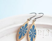 Vintage Earrings - Enameled Blue Sunburst Charm Earrings
