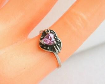 Heart Ring Sterling Silver Vintage Size 5 3/4 Pink Tourmaline Gemstone Romantic Art Nouveau Ring