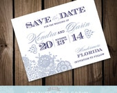 VINTAGE LACE - Save the Date card - Vintage Romantic Lovely Customizable Color Printable DIY Wedding Invitation Digital File