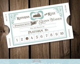 Vintage Styled Train Ticket Place Cards Escort Cards - From Paris With Love Travel Theme - (Fully Customizable) Printable DIY Digital File