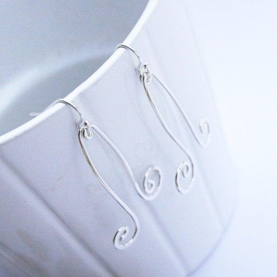 Simple Silver Swirls - Earrings