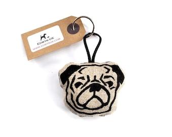 Pug Keyring - Natural Linen
