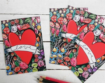 Love postcards set, Valentine's Day Cards (set of 5)