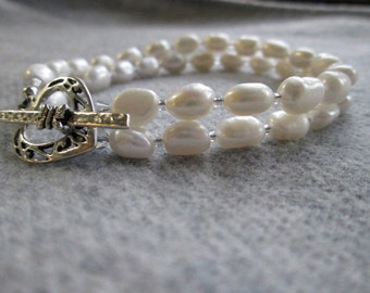 ADELE'S GIFT Bracelet With Freshwater Pearls, Swarovski Crystals, Delica Seed Beads & Sterling Silver Double-Stranded OOAK