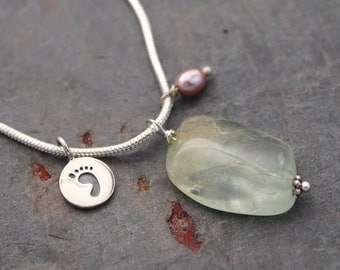 Sterling Silver footprint and Aquamarine  Necklace