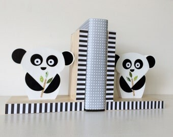 Panda Bear Bookends, Black and White nursery decor, Monochrome, Black and White Kids decor, Black and White Decor, eco friendly