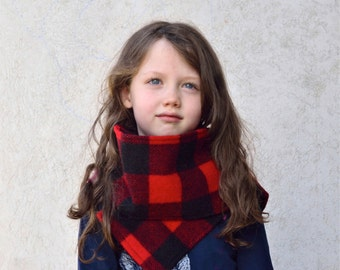 Kids Wool Scarf in Red and Black Buffalo Plaid- Unisex Lumberjack Winter Scarf (One Size 3T - 6T)