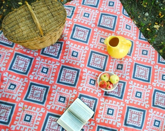 Organic Picnic Blanket- Moroccan Geometric Luxe Blanket - Eco Friendly- Personalized Gift