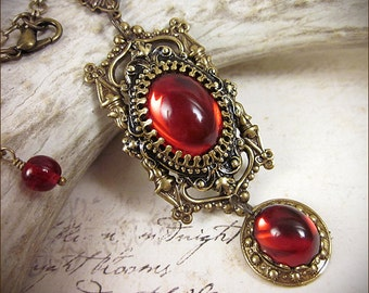 Red Ruby Renaissance Necklace, Gothic Cathedral, Medieval Jewelry, Tudor Jewelry, Medieval Jewel Earrings, Your Choice of Color and Finish