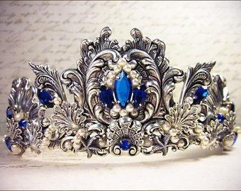 Renaissance Tiara, Mermaid, Beach Theme, Fantasy Headpiece, Custom Wedding Tiara, Ocean, Bridal, Renaissance Wedding, Mermaid