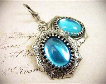 Aqua Renaissance Earrings, Aquamarine, Medieval Jewelry, SCA Garb, Tudor Costume, Victorian, Antique Look, Alternative Bride, MedCol