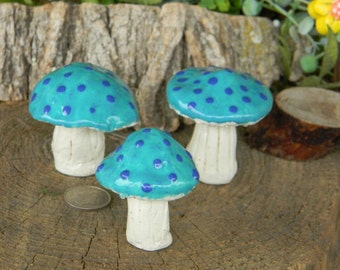 Garden Mushroom Ceramic  miniature Statue Pixie top   Home Grown Toadstools Fairy   turquoise blended   terrarium  ground fairy pixie