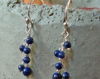 Handmade Sterling Silver and Natural Blue Lapis Short Dangle Earrings