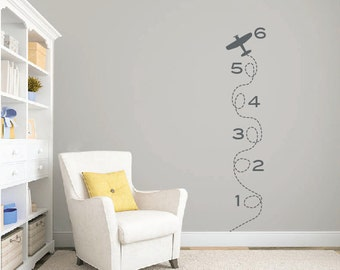 Airplane growth chart wall decal DB337