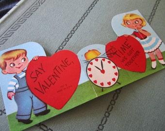"Vintage Valentines Day Card ""Say Valentine, it's ""time"" we got together!"" Sweet 1950's Valentine Little boy & Girl w/ Clock"