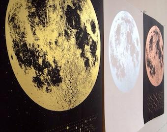 Full Moon 2016 Moon Phases Calendar, lunar phase screen print, beautiful silver gold copper large print 22x30, la luna wall art space, stars