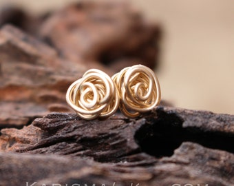 Rose Bud Posts, Wire Knot, 14K Gold Filled, Wire Jewelry