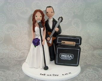 Custom Handmade Bride & Groom Music Theme Wedding Cake Topper