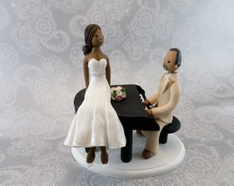 Bride and Groom With a Piano Custom Wedding Cake Topper